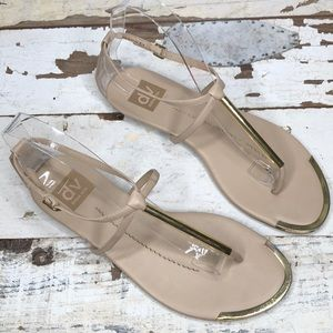 Dolce Vita strappy nude sandals with gold metal